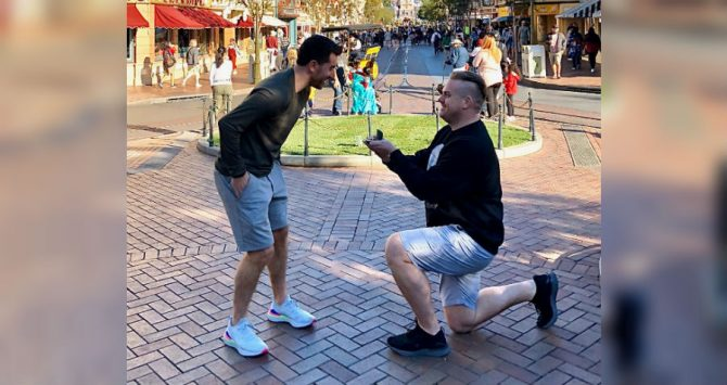 Sean Nyberg proposes to Paul Danforth at Disneyland - Danforth, a teacher, is now without a job
