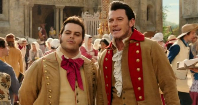 Josh Gad as LeFou and Luke Evans as Gaston in the 2017 movie, Beauty And The Beast