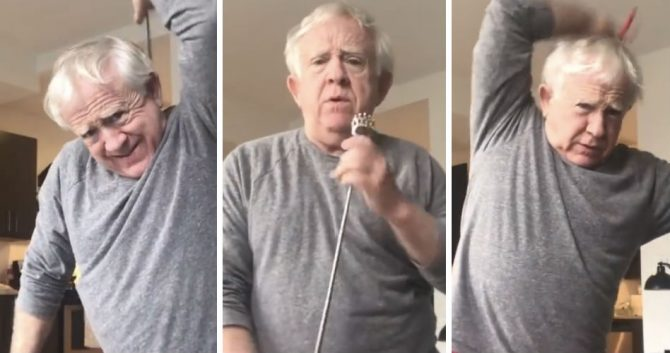 Leslie Jordan exercises during coronavirus self-isolation