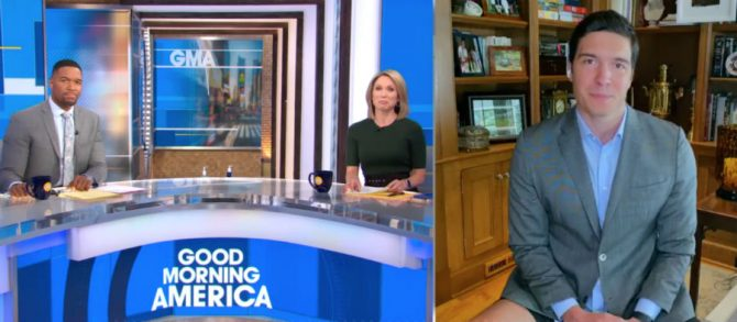 Michael Strahan and Amy Robach talk to Will Reeve on Good Morning America