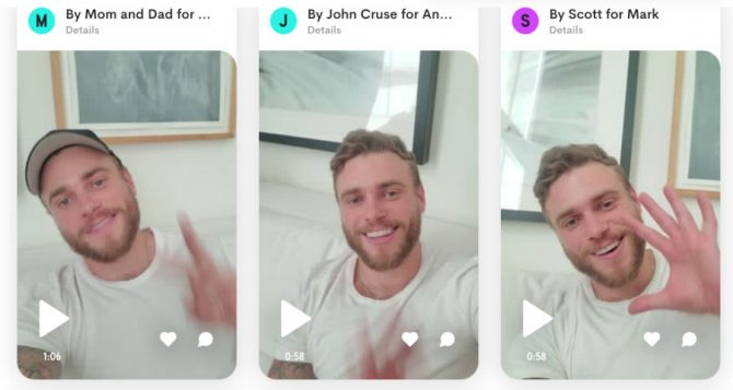 Some of Kenworthy's video messages on Cameo