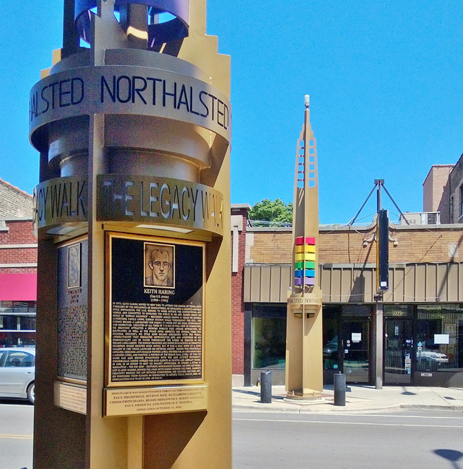 Two of the pylon's on Chicago's LGBT Legacy Walk – which is also found in Boystown