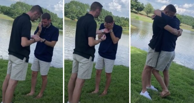 Men's wedding proposal goes viral
