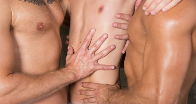 Three men naked - a polyamorous thruple