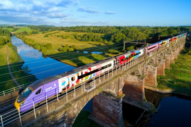 The Avanti rainbow flag train