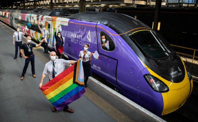 The new rainbow-covered train