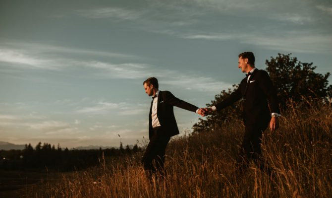 Same-sex gay couple wedding photos