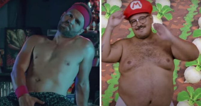 Tom Goss and Jason Villegas in the 'Nerdy Bear' video