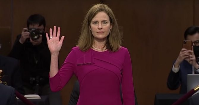Amy Coney Barrett at her Senate questioning