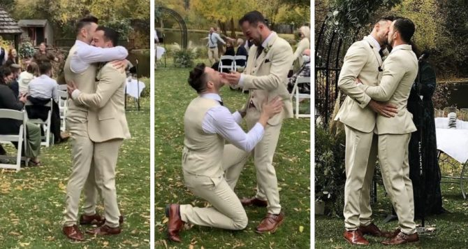 Gay men get married and 'Stupid Love' flash mob