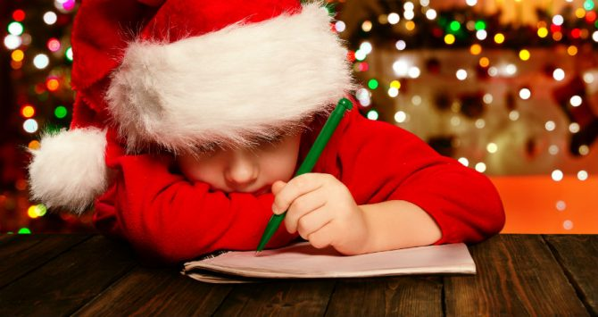 A boy writes a letter to Santa