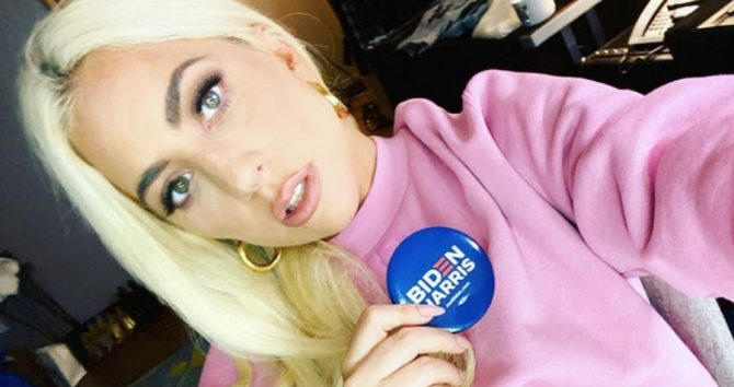 Lady Gaga with a Biden campaign pin