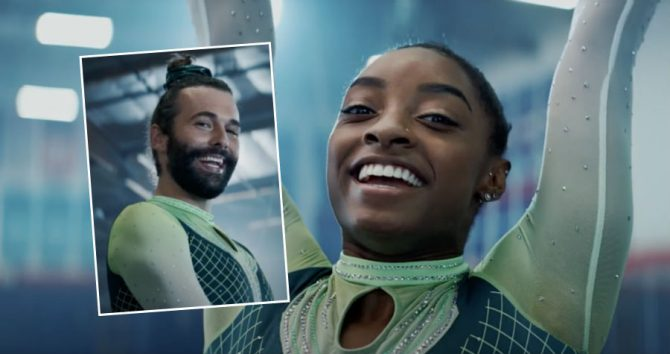 Simone Biles and (inset) Jonathan Van Ness in the Uber Eats advert