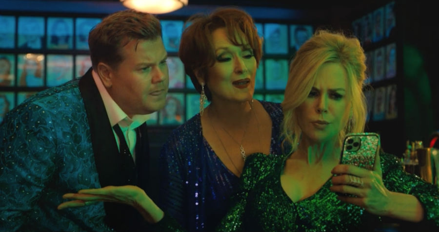 James Corden, Meryl Streep and Nicole Kidman in The Prom