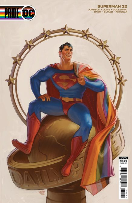 Superman with a rainbow flag