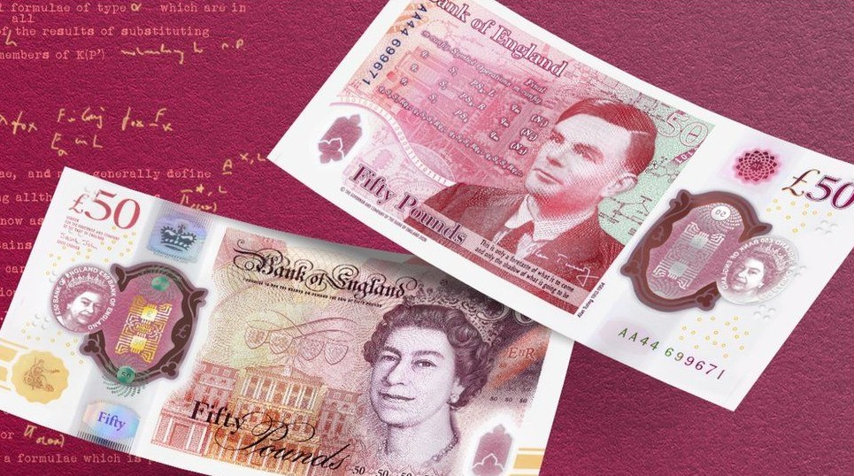 Both sides of the new £50 banknote