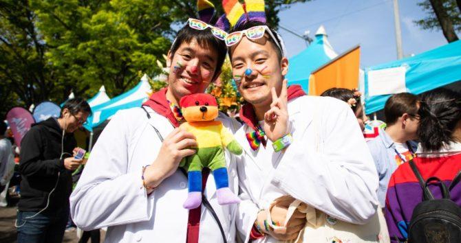 Two men at Tokyo Rainbow Pride in Japan, 2019