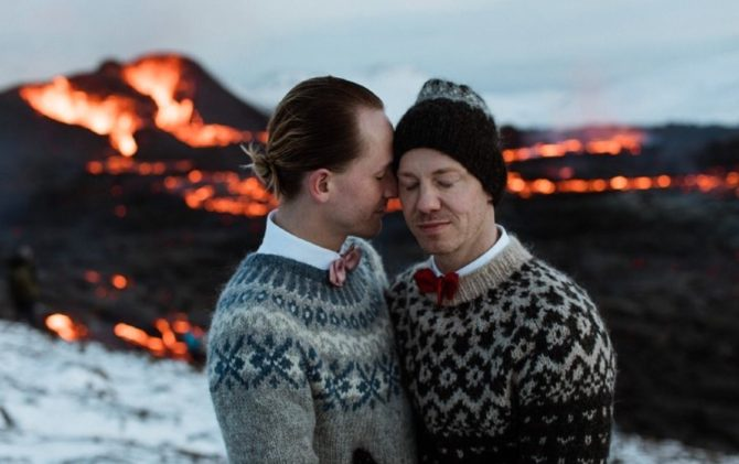 Sumarliði and Jón marry beside a volcano in Iceland