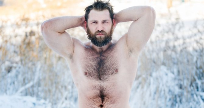 A man with a hairy chest proves he's not