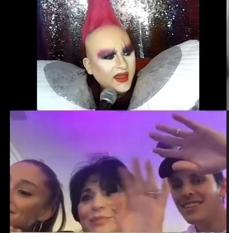 Image courtesy of DJ Rockstar Aaron: It was a Grande night for Bingo for Ariana, hubby, mom, et al