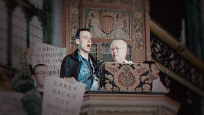 Tatchell storming the pulpit of the Archbishop of Canterbury's Easter Sunday church service in 1998