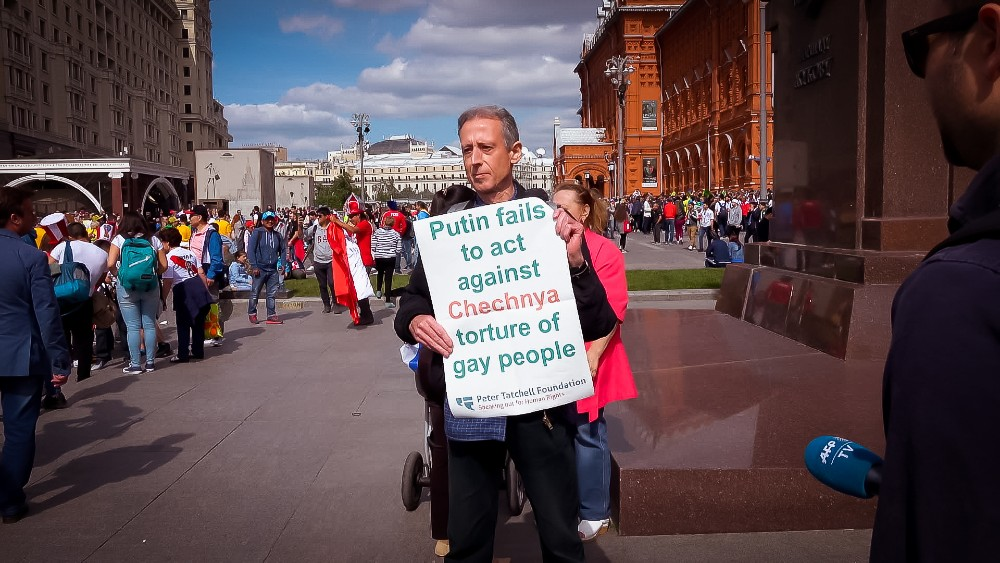 Peter Tatchell demonstrating in Red Square, Moscow