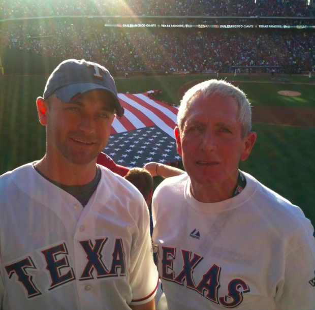 Matt Douglass and his dad at Game 3 of the 2010 World Series