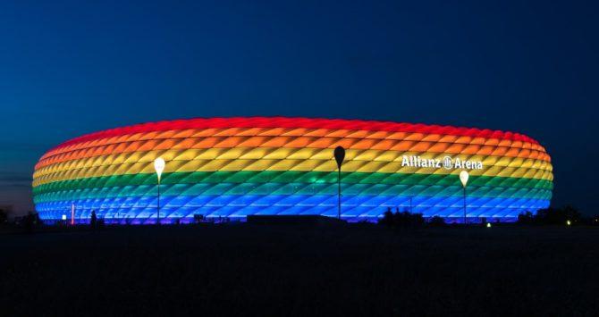 Munich's Allianz Arena illuminated in rainbow light on Christopher Street Day in 2016