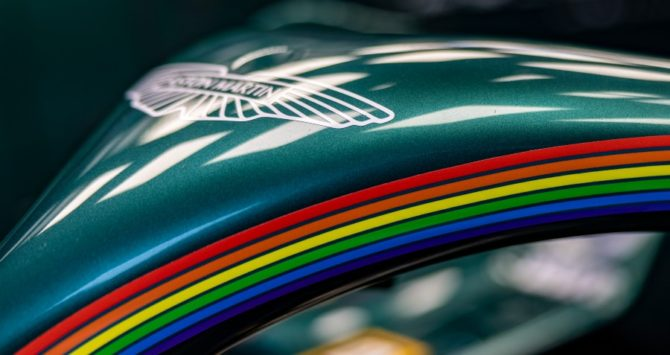 Aston Martin added rainbows to its F1 cars for Pride Month