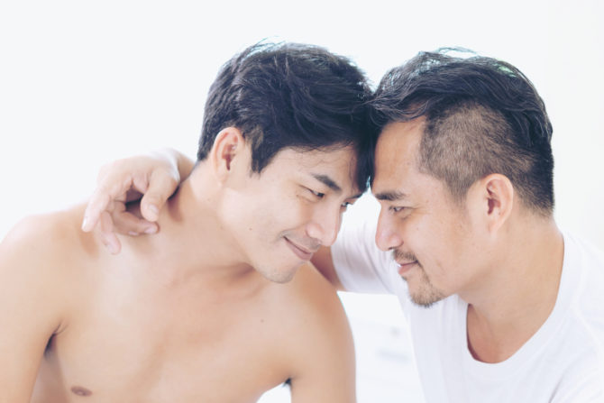 Gay guys hugging