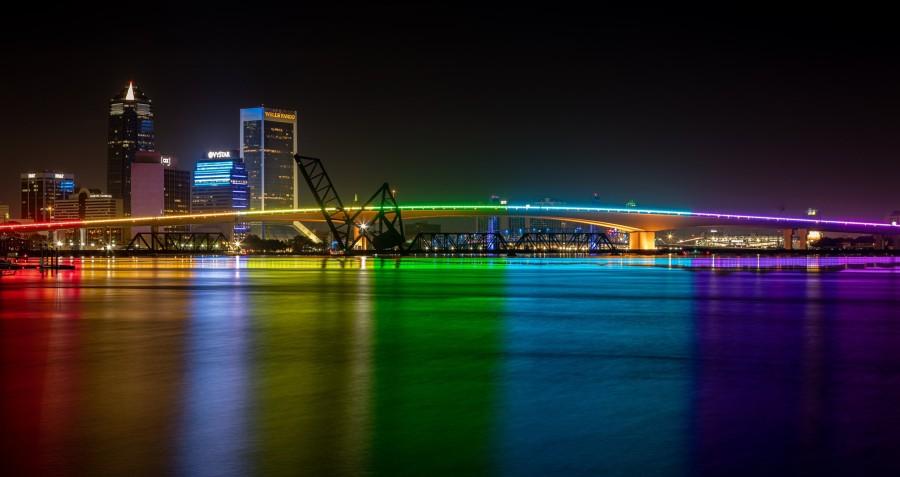 Jacksonville's Acosta Bridge lit in Pride colors