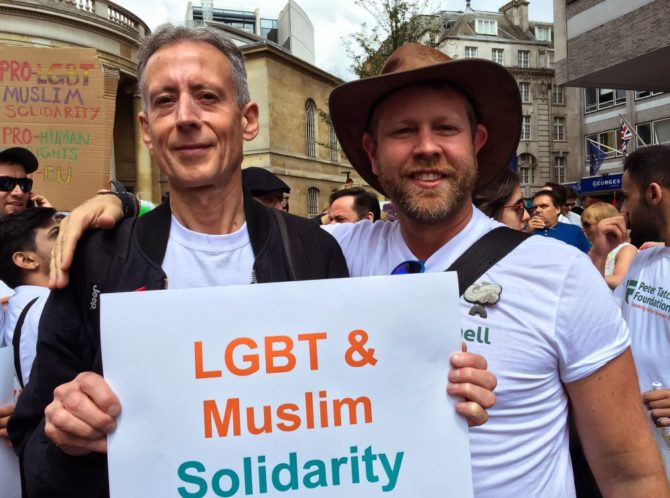 Peter Tatchell and director Christopher Amos outside a central London mosque (Photo: Christopher Amos)