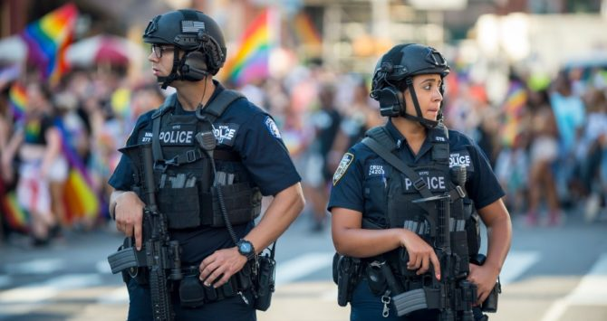 NYPD police officers providing security at NYC Pride in 2017