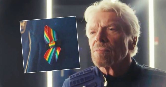 Richard Branson and the rainbow ribbon he wore on his space flight