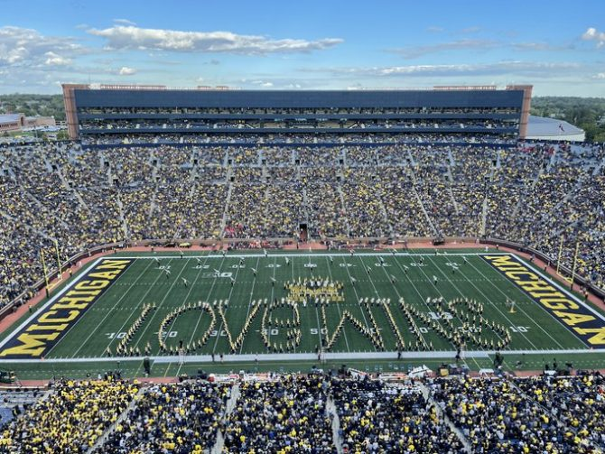 The Michigan Marching Band perform at last Saturday's game