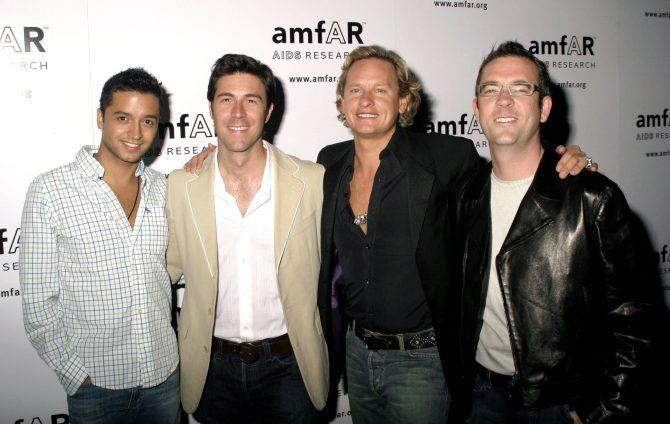 Jai Rodriguez, Kyan Douglas, Carson Kressley, Ted Allen at The 14th annual amfAR Rocks benefit and silent auction, Tavern on the Green Restaurant, New York, June 20, 2005