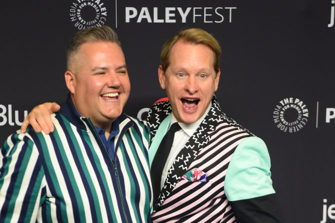 """Carson Kressley and Ross Matthews attend the PaleyFest """"Rupaul's Drag Race"""" event at the Dolby Theater in 2019"""