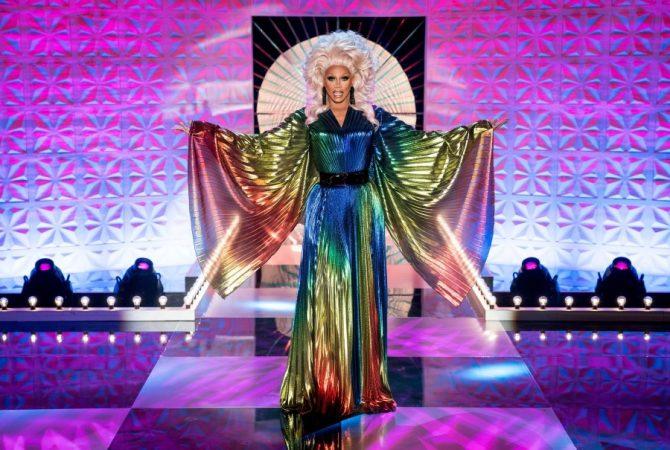 RuPaul in a rainbow gown